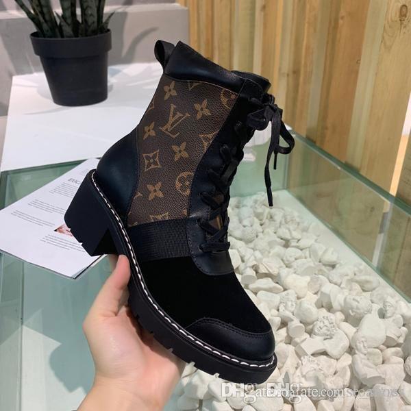 Martin botas zapatos ganadores de alta calidad de la manera mujeres de la alta calidad de la manera de lujo del cuero de gran tamaño del tobillo botas de tacón Botas Senderismo