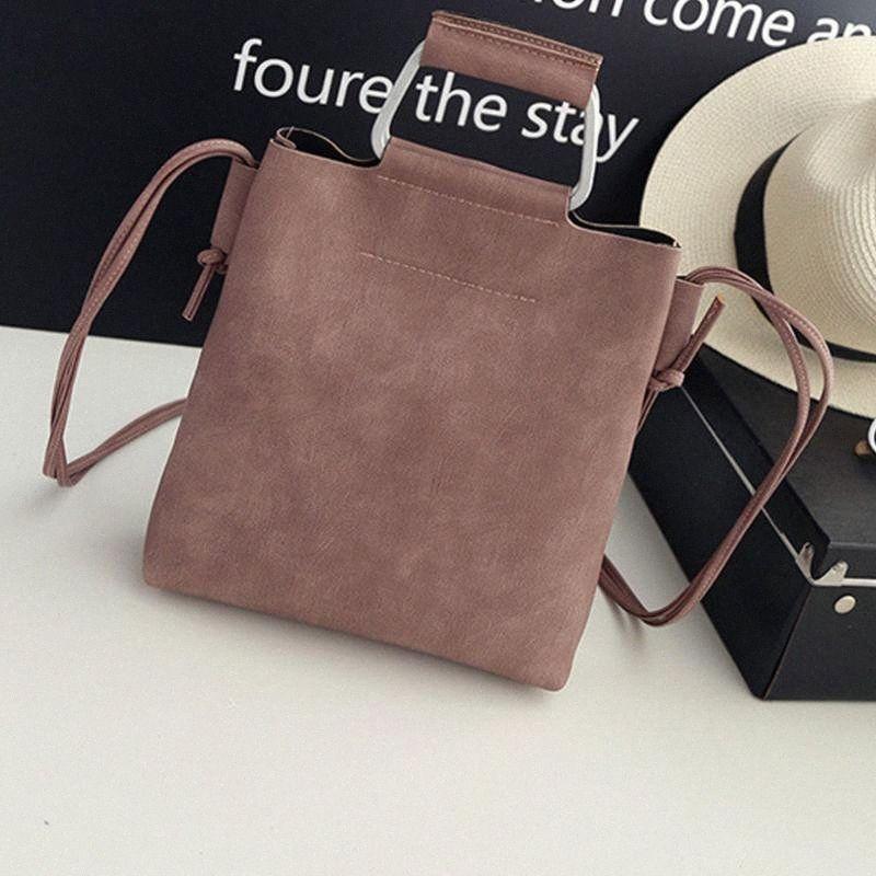 Горячие Женщины сумки Женщины Vintage Ковш сумка плеча Мода Сумка Корзина Корейская версия Simple Wild Lady Tote Leather Tote YA6Q #