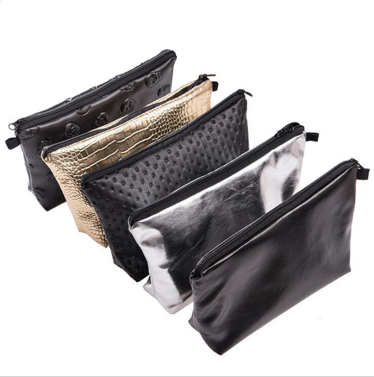 Mujeres bolsas de cosméticos láser PU maquillaje de cuero bolsa del bolso del caso del recorrido portable de la cremallera del embrague del artículo de tocador impermeable bolsa de bolsos de la moda LSK893