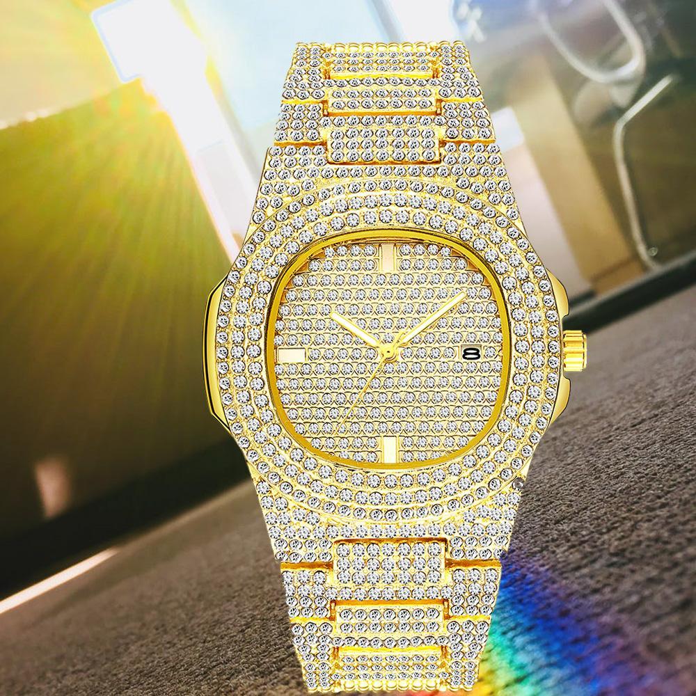 أزياء الرجال النساء الذهب ووتش الماس يثلج خارجا مصمم الساعات الفولاذ المقاوم للصدأ حركة كوارتز ذكر أنثى هدية بلينغ ساعة اليد ساعة