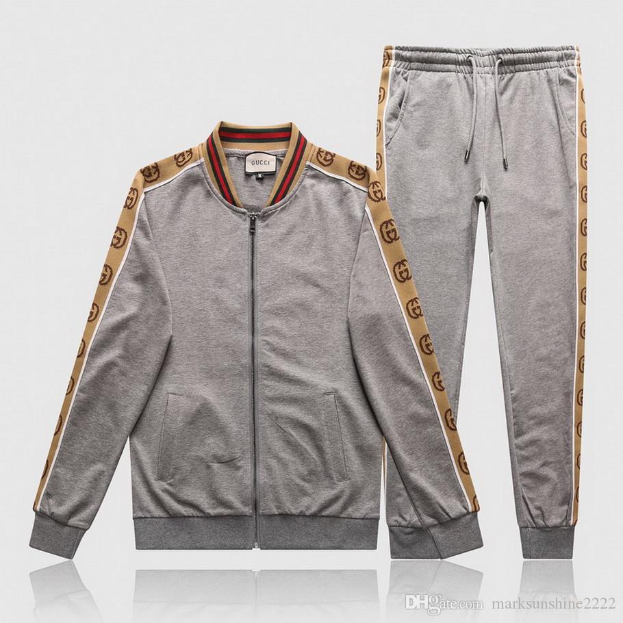 nuovo progettista del mens Felpa jogging vestito degli uomini Pullover Esecuzione Tute Mens Jogger giacca + pantaloni Moda sudore tute M-3XL