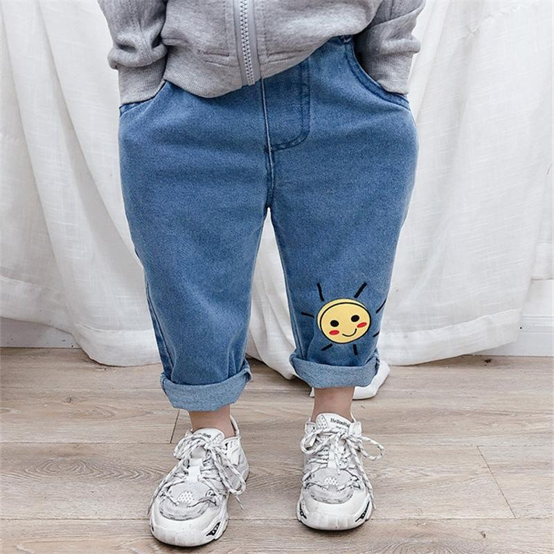 5jxuC Girls 2020 spring clothes smiling face pants and Jacket jeans Korean style Baby Children's jeans little girls spring and autumn childr