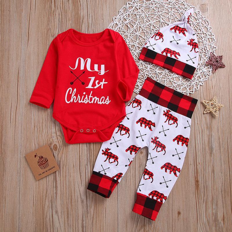 2020 Baby-Jungen-Kleidung Neugeborene Weiblich Outfit Säuglings-Kleidung Set Mein erstes Weihnachten Kinder Weihnachten Klagen 3pcs Set