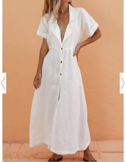 x0ogl KhaL9 dress summer new short color lapel solid 2019 sleeve summer new solid dress color lapel short sleeve 2019