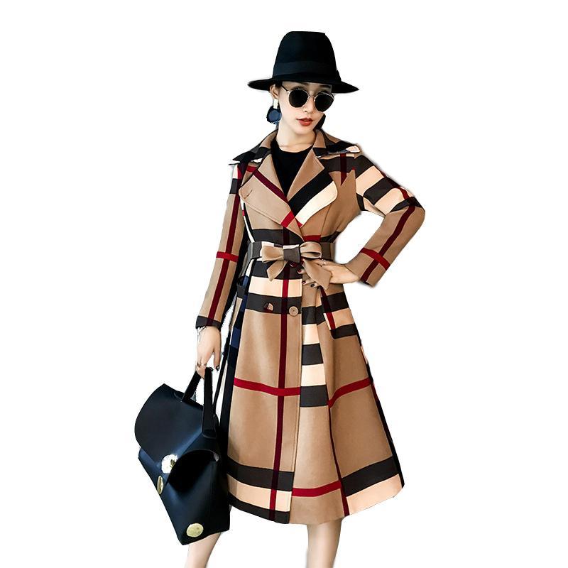 New xadrez mulher trench casacos casuais colarinho casual colarinho duplo breasted mulheres completa trincheira casaco de cintura larga impressão femme trincheira lj200903