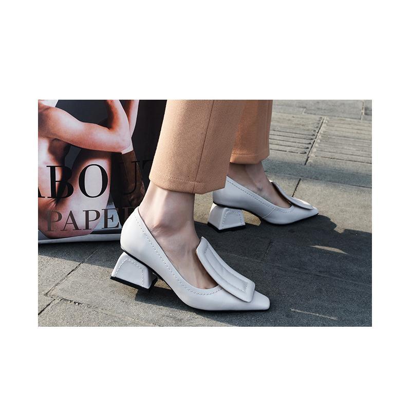 EMMA KING Luxus-Designer-Frauen-Schuhe Gelb Sling-Absatz-Pumpen Big Sqaure Buckle-Kleid-Schuhe Frau Runway De Mujer