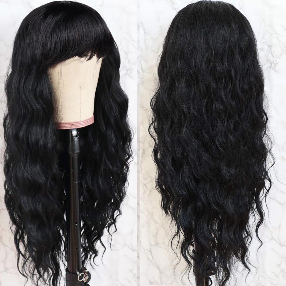 Körperwelle lang Jungfrau Perücke brasilianisch Remy Haar Mittelteil Menschenhaar-Perücken für Frauen natürlicher Farben-Voll maschinell hergestellte Perücke mit Pony