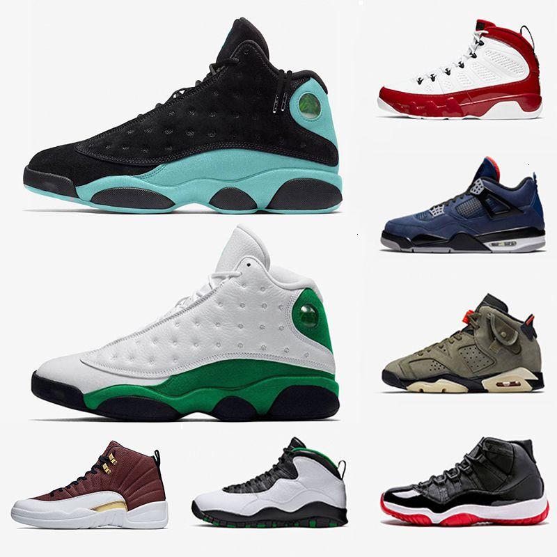 Mens HotSend Ilha uma máscara 9s 13s verdes Basketball Sorte Sapatos 11s Bred Gym Red 4s Leal azul Travis Cactus Jack 6 12s Sports Sneakers