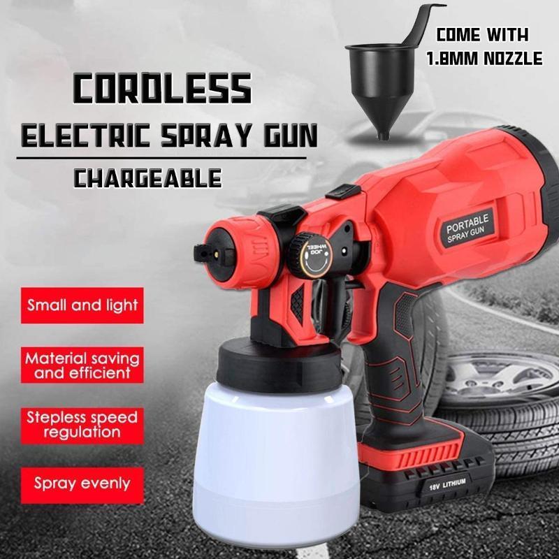 18V électrique sans fil Pistolet 800ml Ménage Pulvérisateur de peinture haute Pressur pistolet Débit facile Spraying Airbrush
