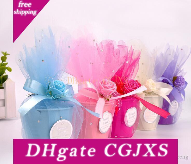 Boda de estilo europeo Material caja del caramelo de la hojalata de bricolaje gasa Pequeño Hierro Bucket 4 decoración de la boda color creativo