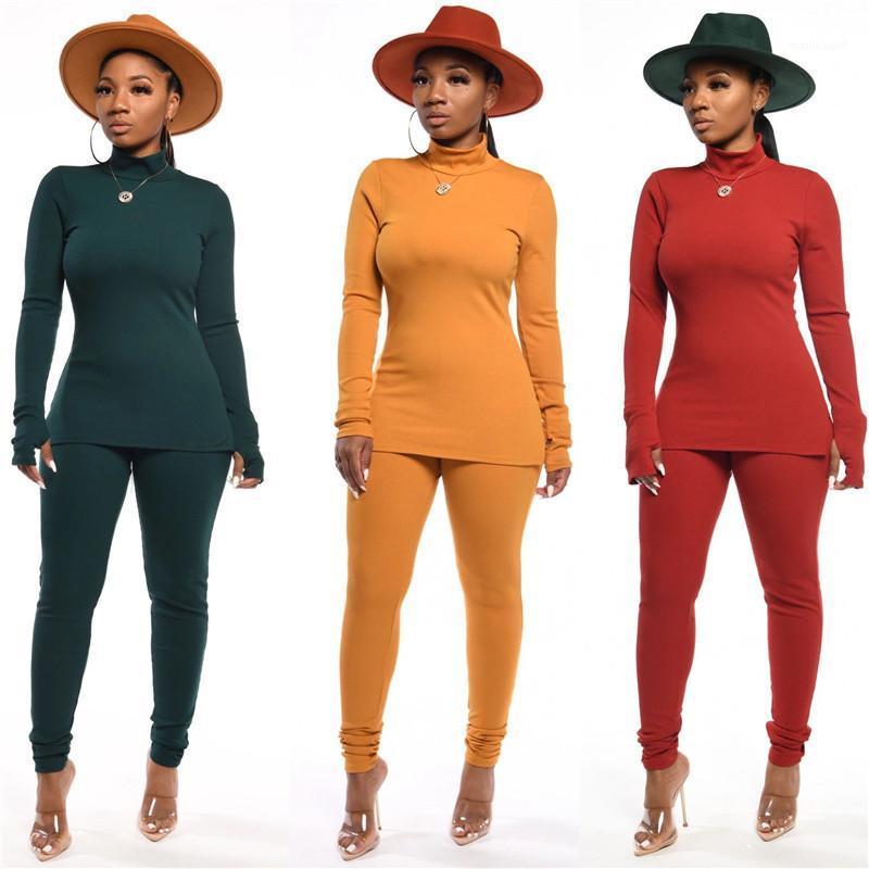 Casual Slim örgü Kadın Suits Bayan Kaplumbağa Boyun Tracksuits Moda Tok Renk Uzun Pantolon 2PCS Bayanlar Setleri