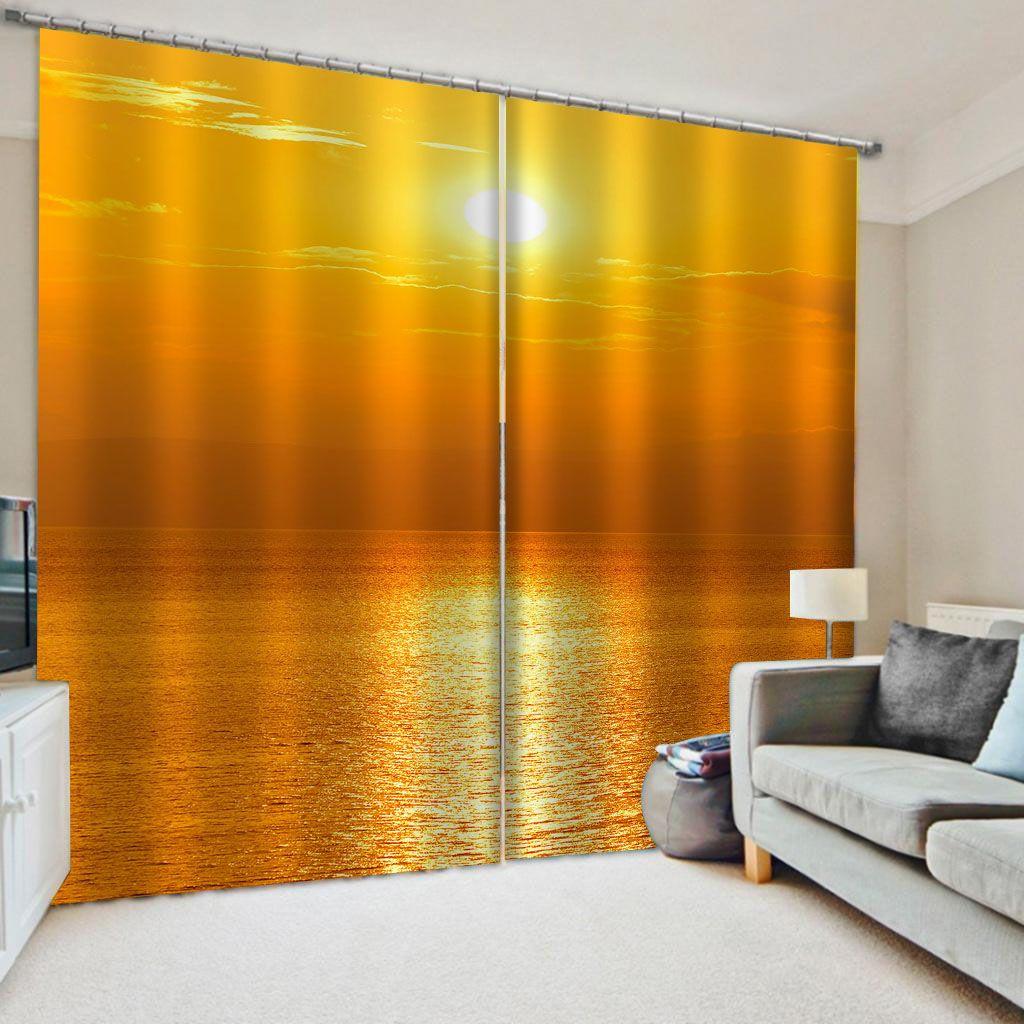 Customized 3d Vorhänge einfach und frisch Gold Vorhänge Sonnenuntergang Vorhang Schlafzimmer Wohnzimmer windproof Verdickung Verdunkelungsstoff