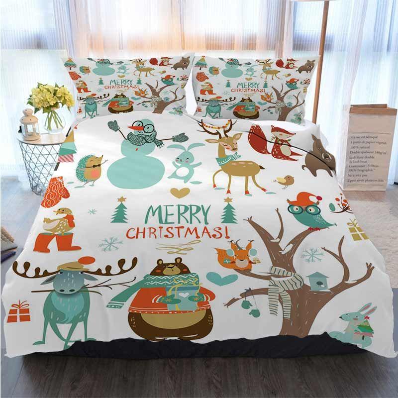 3pcs Bedding Cotton Set Super King Duvet Cover Set Set With Cute Winter Animals Merry Polyester Duvet Cover Luxury Bedding Sets