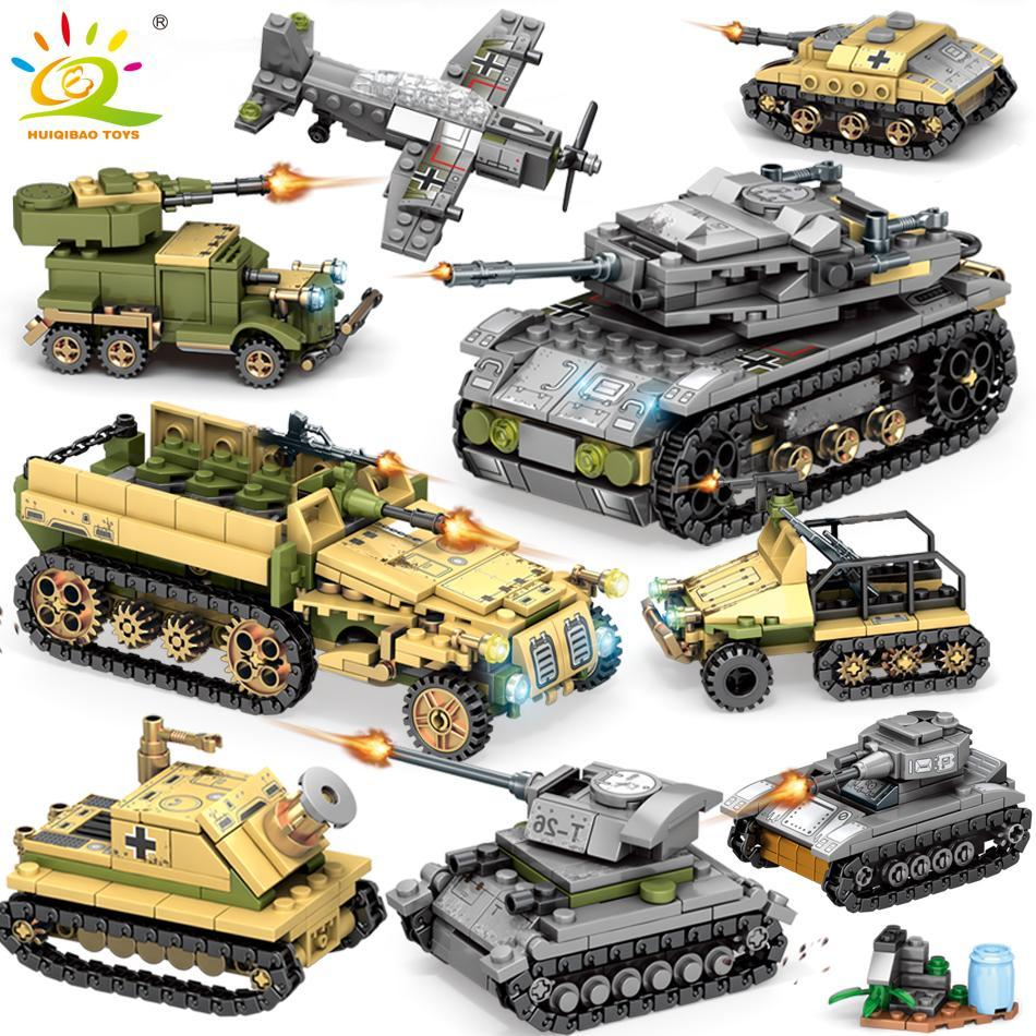 For Plane Children Soldier Tank Truck Model Military Building 8in2 Figure Block Car 1061pcs Army Bricks Toys Weapon Ww2 Huiqibao yxlKDt