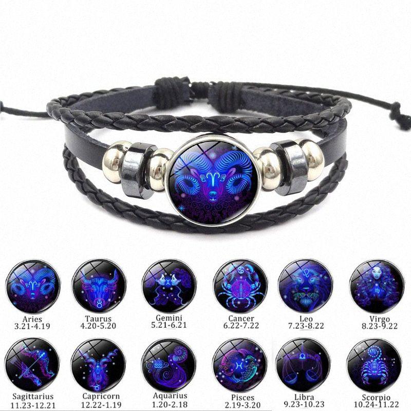 CIBOCIBO 12 Constellations Armband-Mann-Retro- klassisches Seil Armband Armband flechten Männer Leder Mode Pulsera Hombre Mx6G #
