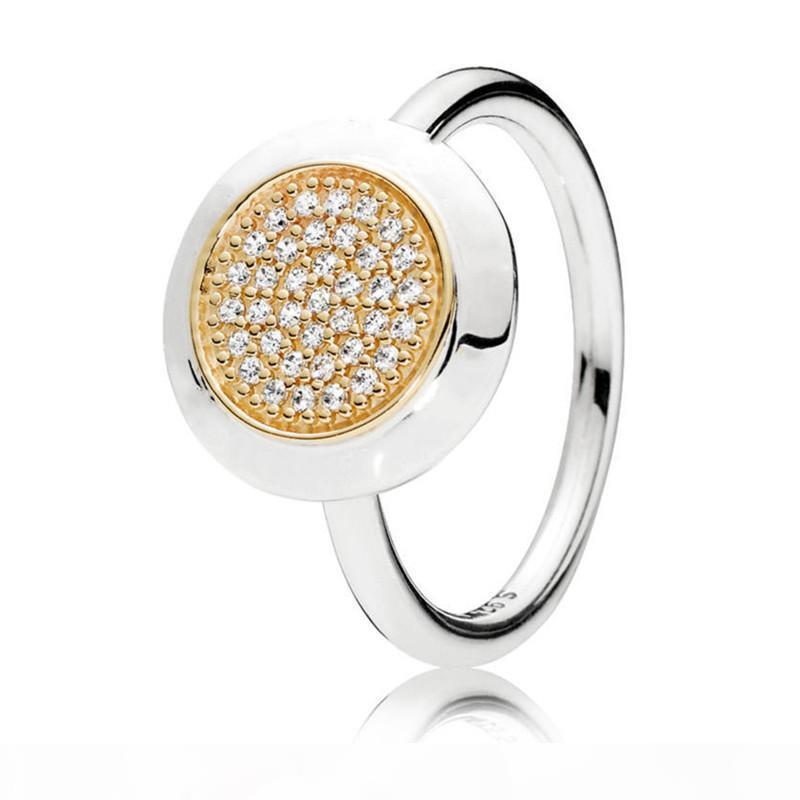 2018 New llegaron auténtica plata de ley 925 de dos tonos Firma diseñador del anillo para las mujeres compromiso de la boda joyas de moda regalo