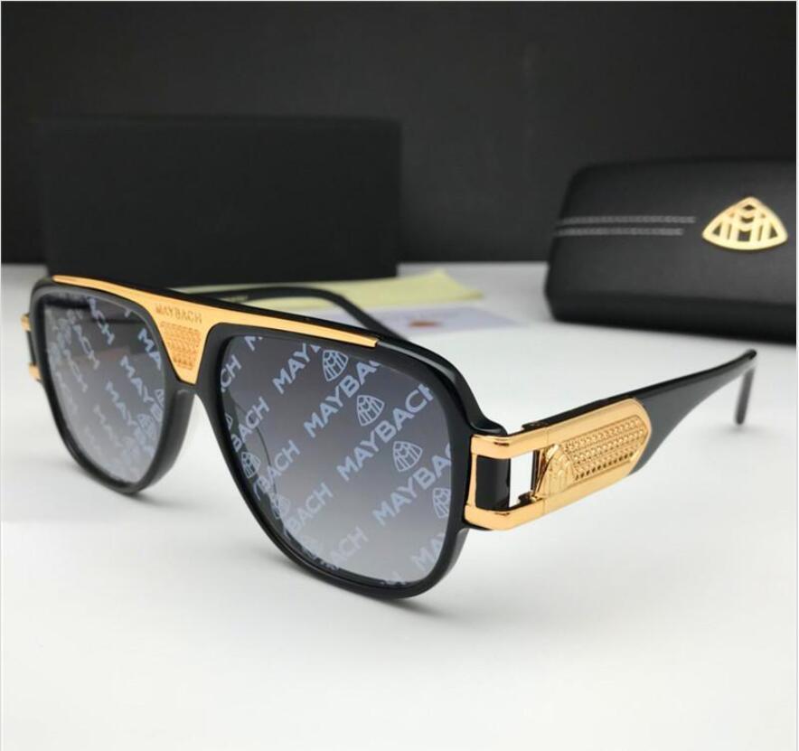 Nuevas gafas de sol de lujo de la moda gafas de sol de los hombres el jefe cuadrada gran marco de estilo vanguardista de diseño de color recubiertos de impresión lente UV400 con la caja