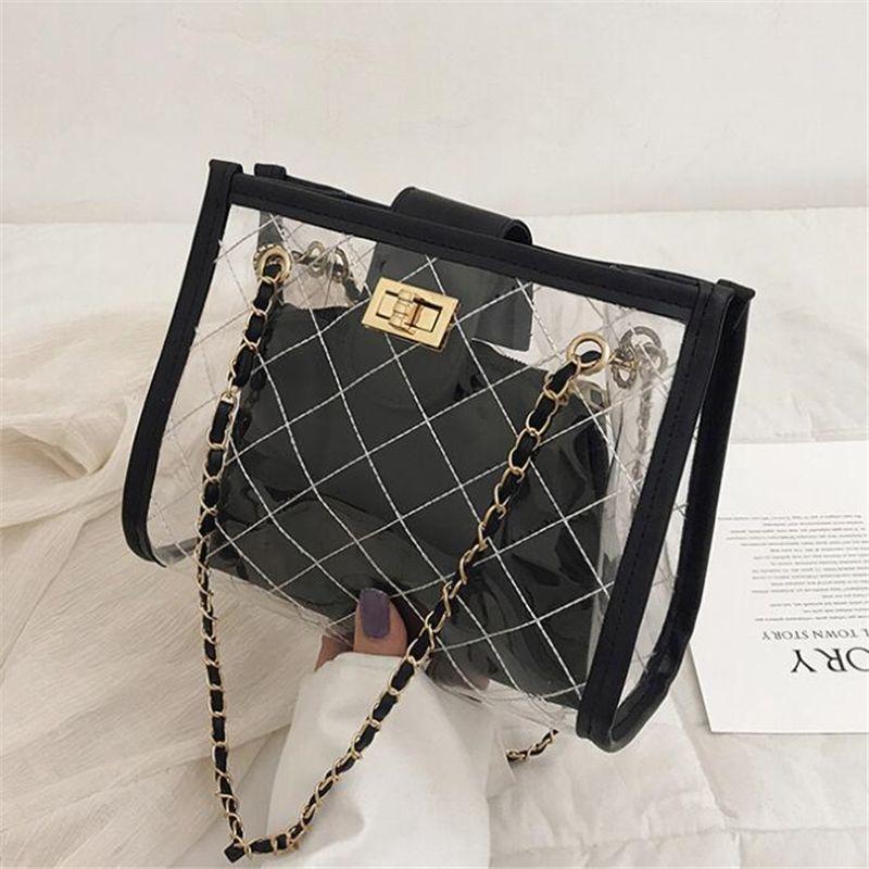 Nuovo trasparente gelatina Crossbody Bag Donna lussuosa spalla Plaid Bag Big Capacity Messenger catena borsa della signora borsa bolso