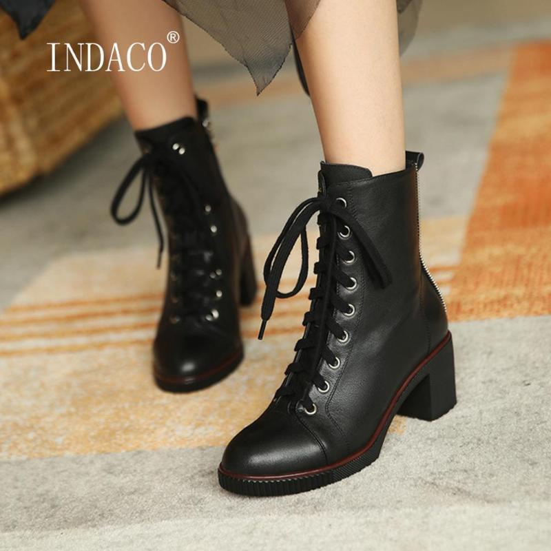 Cuoio caldo scarpe stivali inverno delle donne Lace Up Stivaletti per le donne Breve peluche spessa tallone Bianco