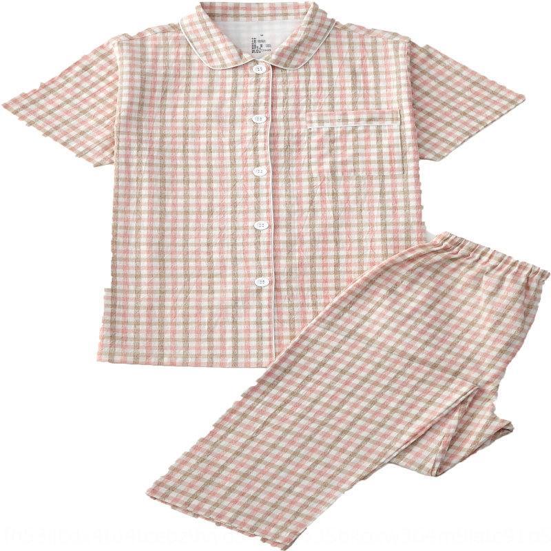 Kqhoe Nueva algodón del juego del color de manga corta ropa para el hogar sencillo traje par de estilo sin imprimir nuevos pijamas orgánicos orgánicos naturales