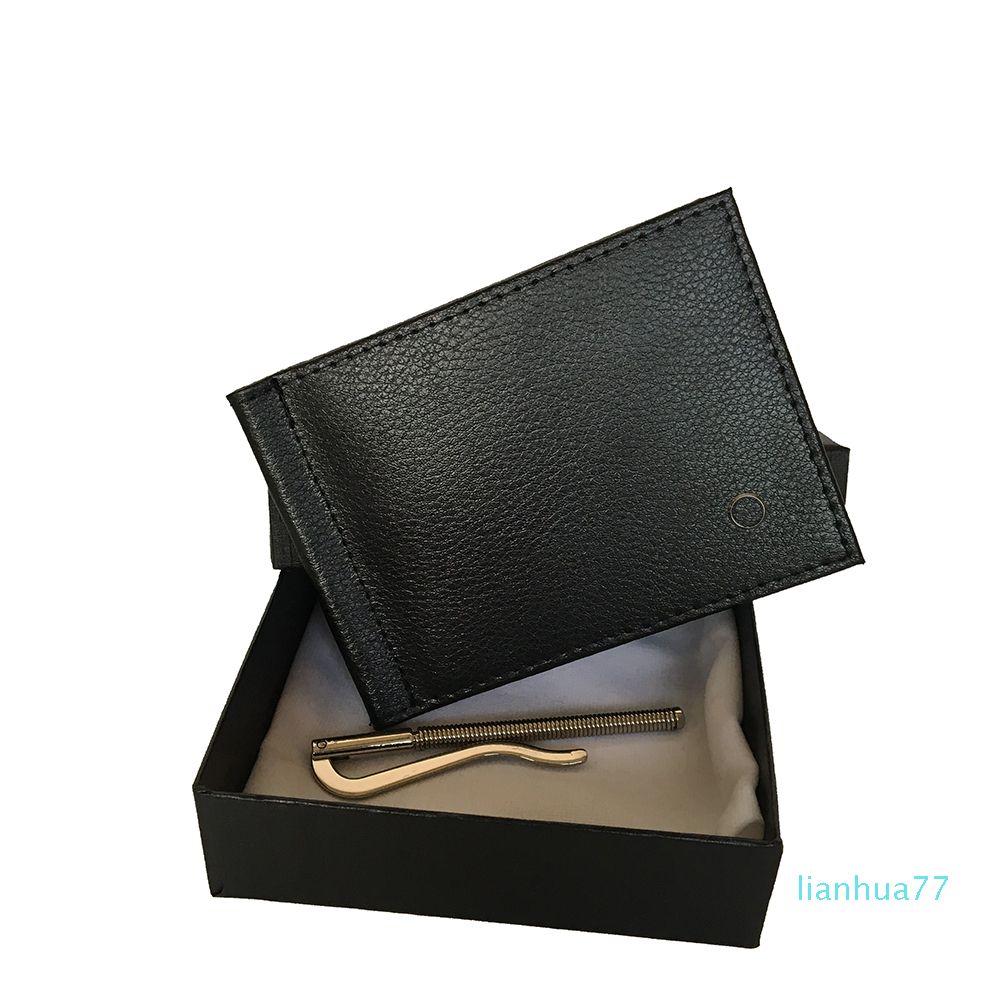 Monedero para hombre del diseñador Negro carpeta de la tarjeta de crédito del sostenedor elegante de cuero de bolsillo conveniente de Bill del sostenedor diseñador alemán hombres de la marca de con la caja
