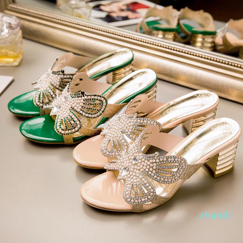 WHOLESALE-femmes Chunky Heel Sandal Mule de haute qualité Designer cristal de style papillon en strass Fourreaux Summer Party Chaussures