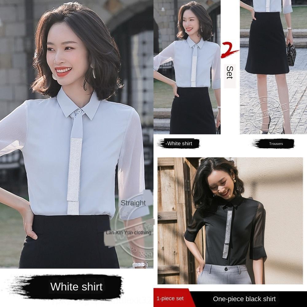 Giy9l 92UzR camisa de chiffon camisa branca Top branco primavera das mulheres e verão novo design top sentido nicho moda all-corresponder Professional
