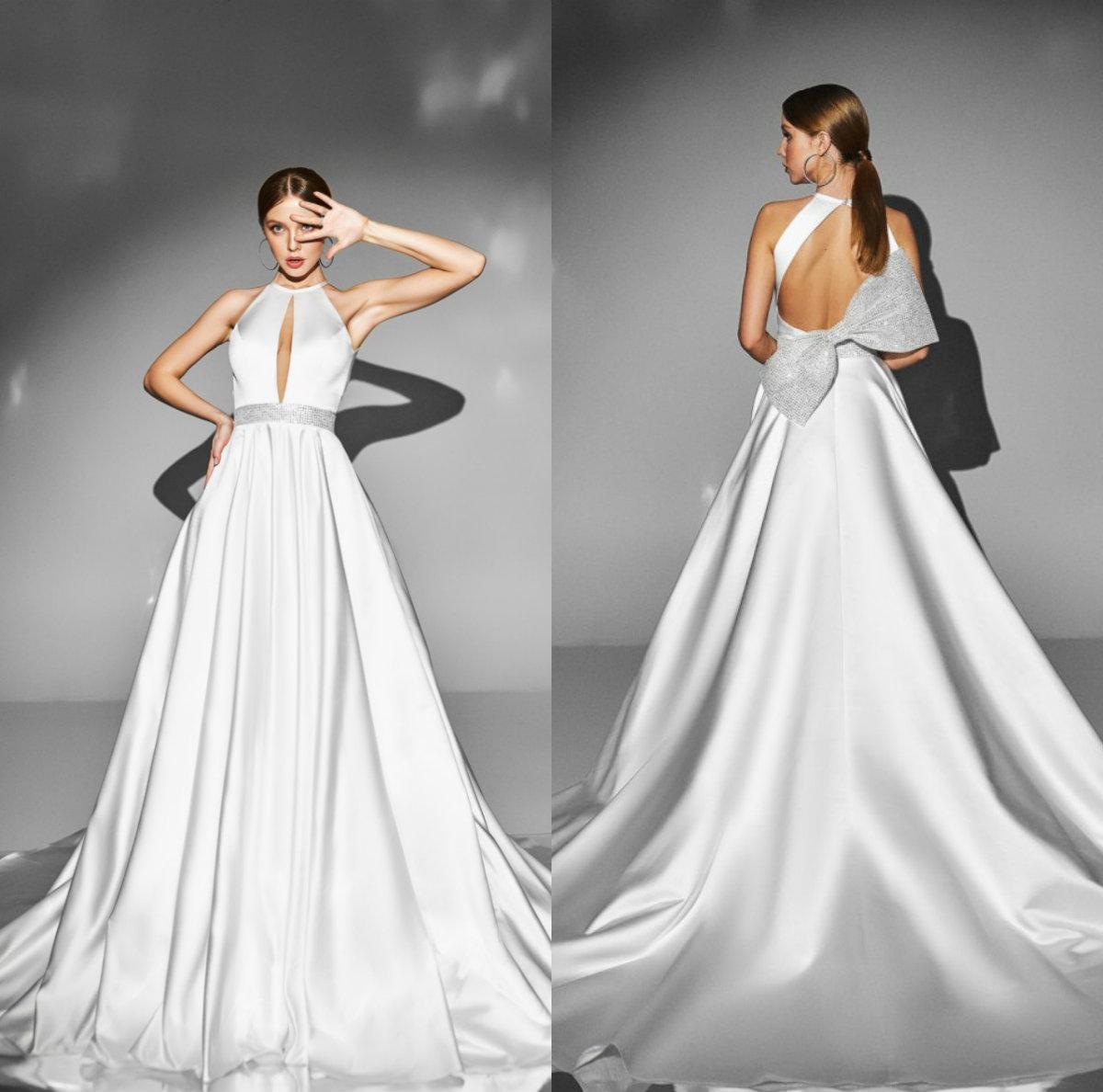 2020 vestidos de casamento elegante Halter uma linha de divisão vestido de novia com Bow Sweep Trem vestidos de noiva Robe
