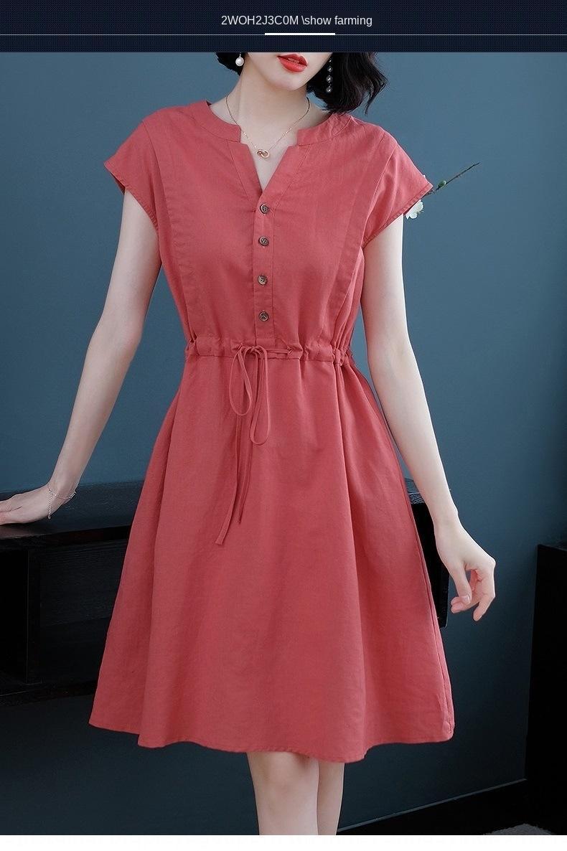 p8rwk Baumwolle und 2020 neue Sommermittellange V-Ausschnitt Größe Fett Baumwolle und Leinen-Kleid mm Taille schlank elegant Leinenkleid