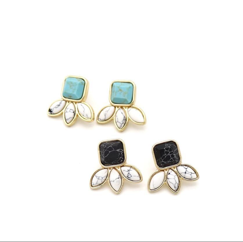 Forma Oro manera plateó la piedra natural de Howlite Pendientes geométrica de la hoja del blanco de la turquesa de la joyería para las mujeres