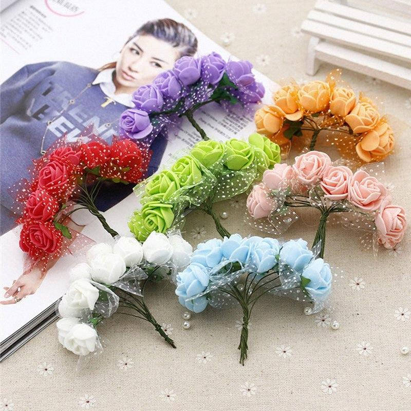 144pcs artificial mini foam flowers rose tulle red DIY gift box craft paper scrapbooking flowers decoration fake bouquet wreath 7QNf#