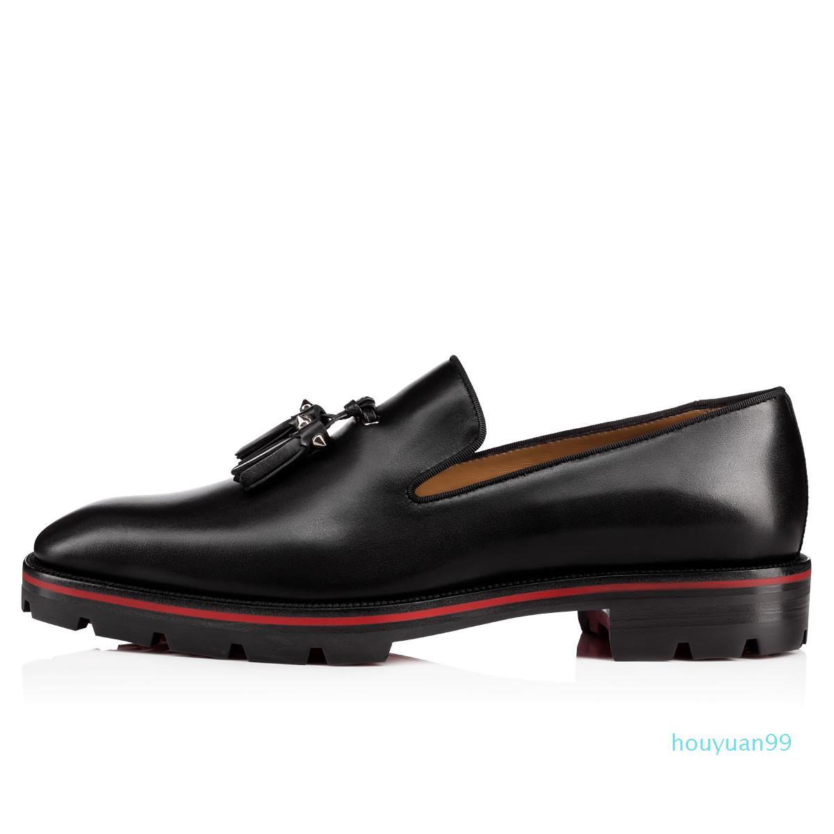 2020 mode hommes nouveaux chaussures habillées en cuir noir mocassins pic chaussures formelles stud hommes chaussures d'affaires semelle rouge bordent