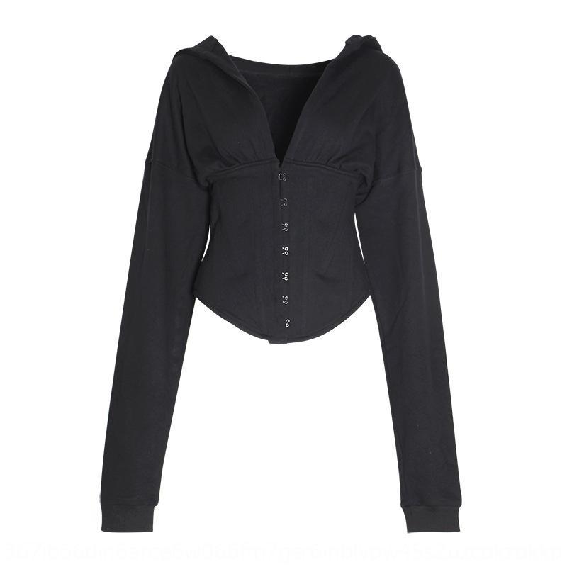 UPSpn Jrvga Thaïlande mode taille 2020 nouveau style occidental chandail minceur printemps capuchon longues occasionnels femmes chandail à manches V-cou noir marque »