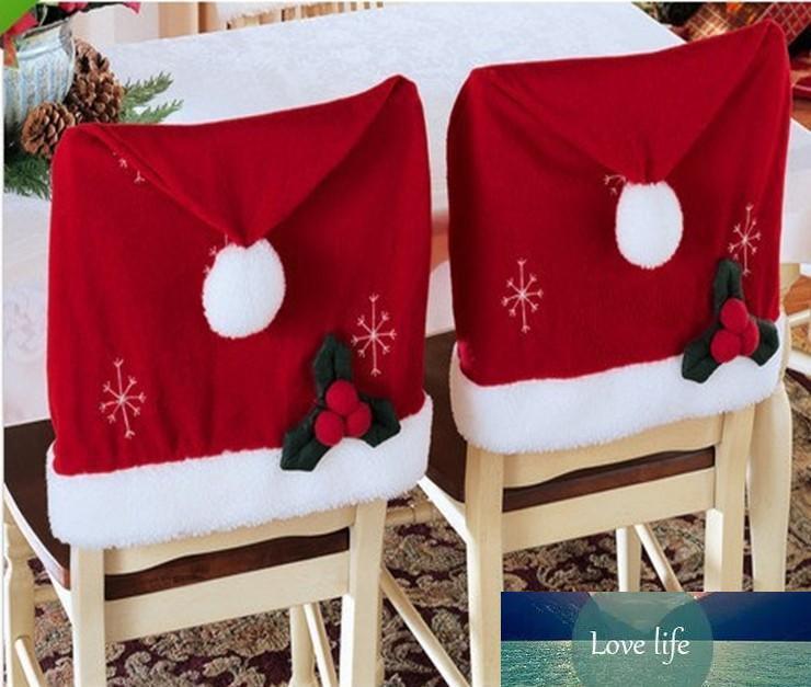 10 Adet / Lot Yüksek Kalite Fanila yılbaşı sandalye örtüleri Santa Claus dekorasyon Noel Yılbaşı Ev Partisi dekor yıkanabilir natale