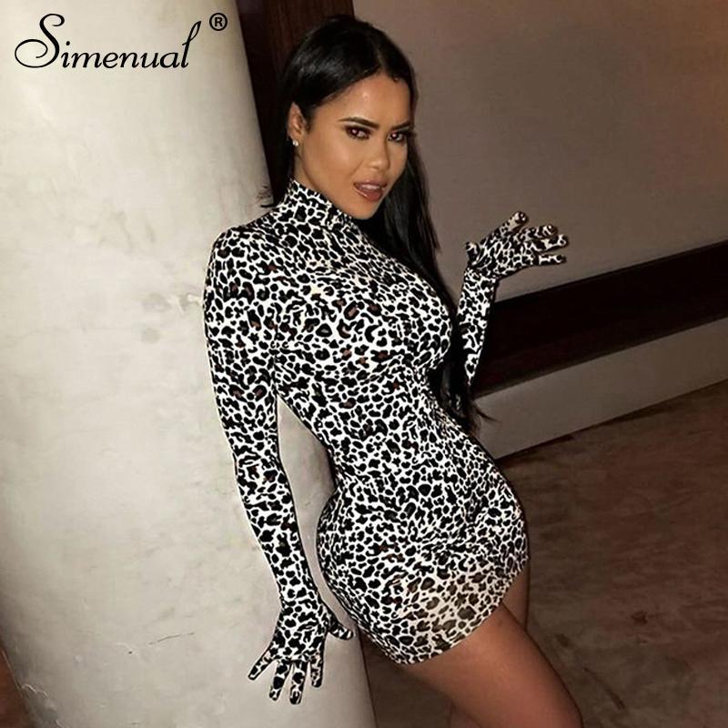 Simenual Leopard Sexy Hot Women Fiesta Vestido de fiesta con guantes de manga larga flaca Clubwear moda Moda Bodycon Mini vestidos Otoño Slim