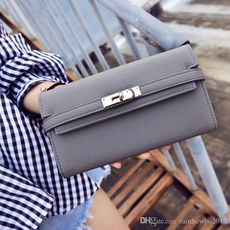 PantalonesLVLouisFábrica mujeres de la marca al por mayor bolso y decora elegante cinturón de cuero nuevo Joker bolsa de embrague hebilla largo manera monedero