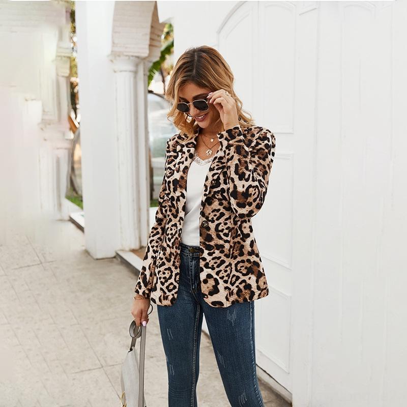 2019 meados de comprimento 6SeNU B6mHB OL estampa de leopardo terno blusão terno casaco corta-vento de primavera fino e outono pequenas mulheres de botão de uma moda
