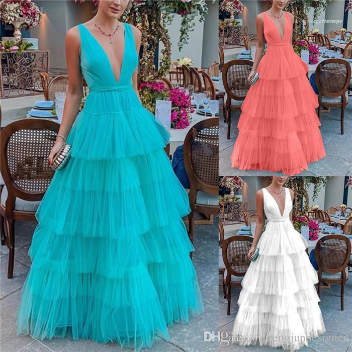 Moda Stil Bayan Giyim Casual Parti Giyim Bayan Yaz Tasarımcı Maxi Elbiseler V Yaka Kolsuz fırfır