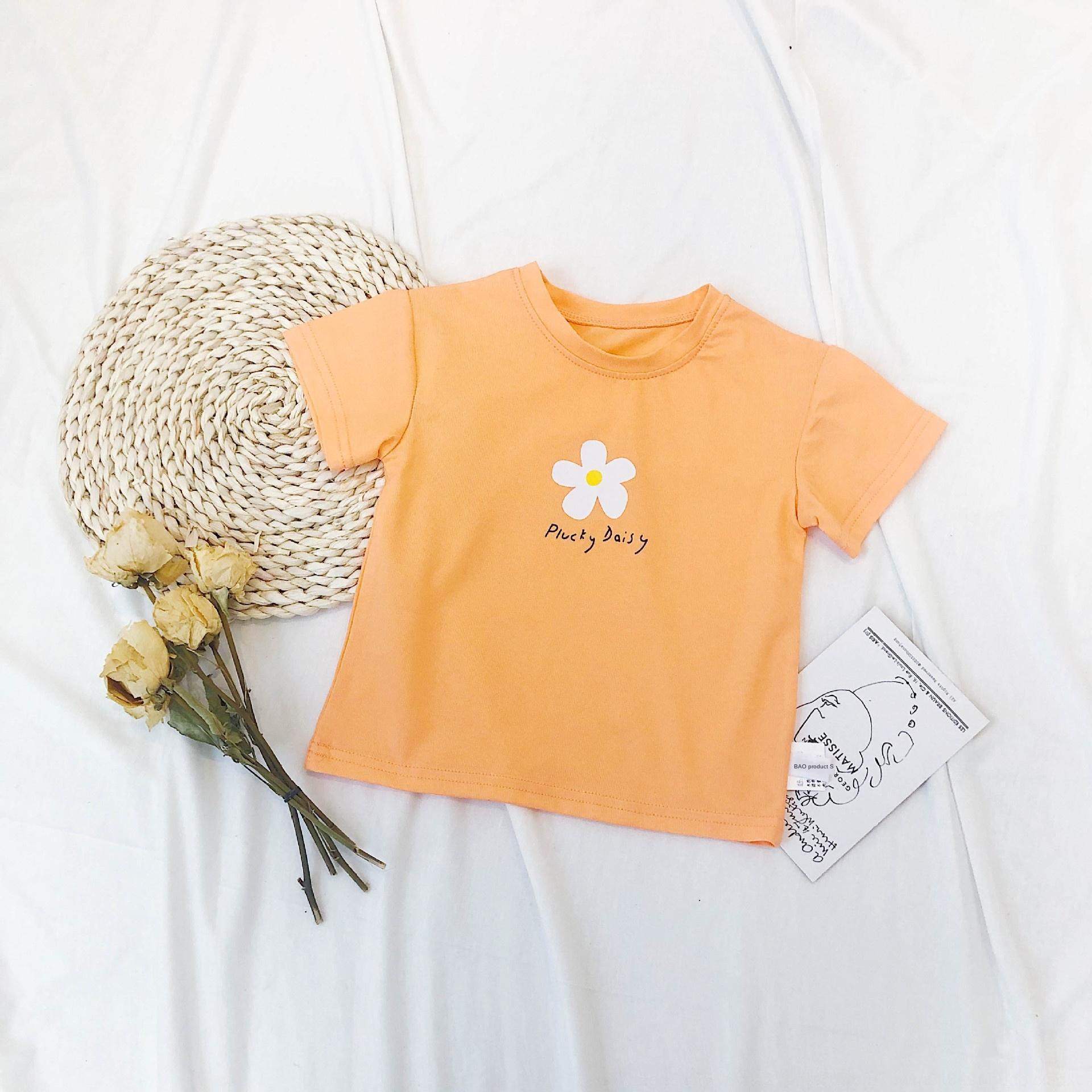 O8Yu7 pequenas e médias crianças 2,020 Verão novo bebê T-shirt e dos homens da forma das mulheres T-shirt pequena flor simples versão coreana A259