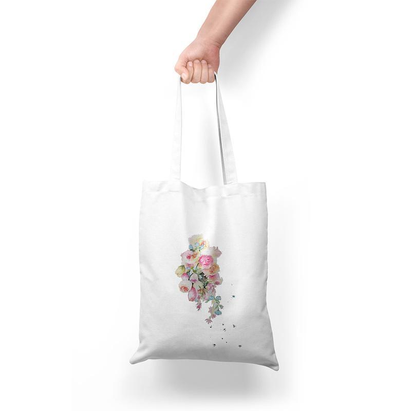 Piantato estate casuale delle donne Tracolla di grande capienza Flower Stampa su tela Harajuku Studentessa Grocery Shopper Bags
