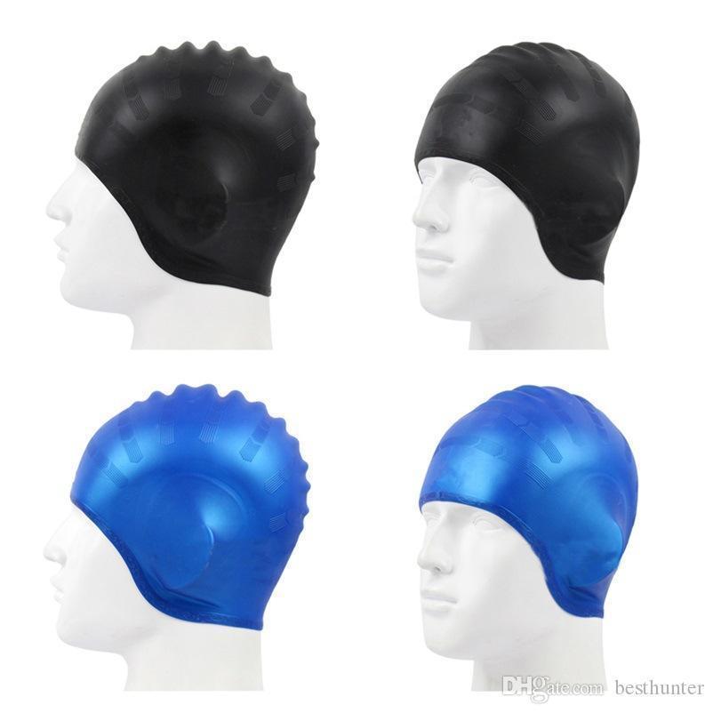 1PCs silicona Submarinismo Piscina gorro de natación piscina de agua impermeable del deporte de la protección auditiva de pelo largo gorros de natación Copa Sombrero para hombres, mujeres SS-41