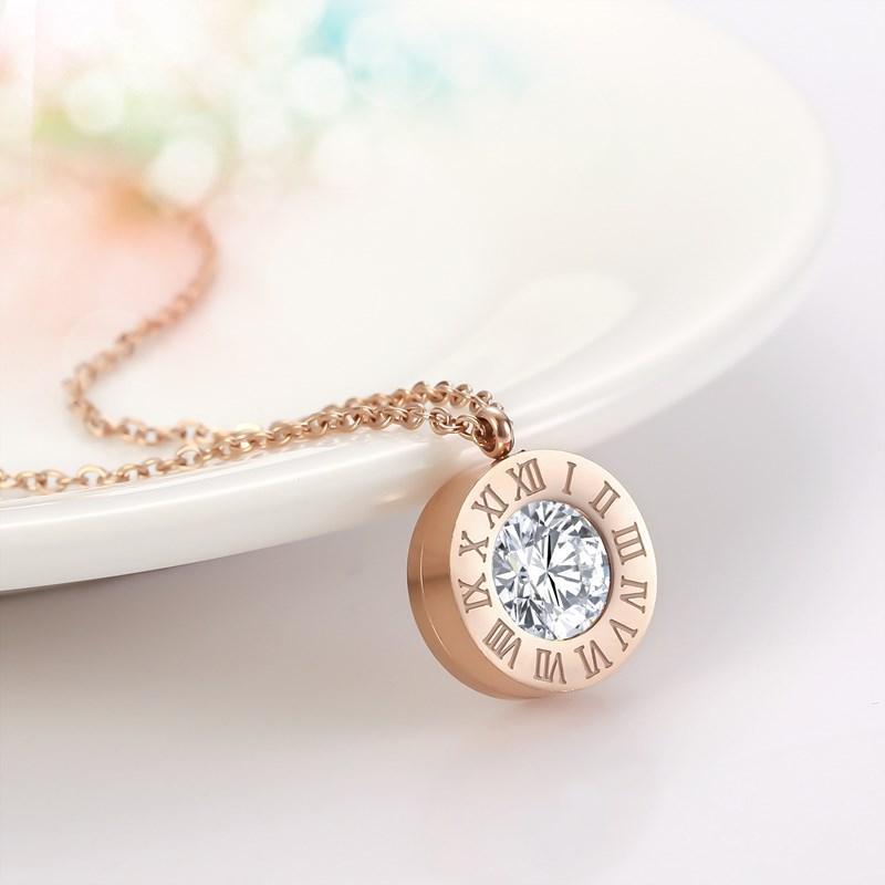 Großhandel Mode-Kristallschmucksachen Gold Silber Rose überzog Einzel Diamant-Halskette Römische Ziffern Edelstahl-Halskette für Frauen
