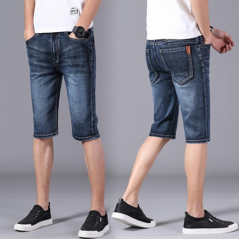 e6TA5 Denim gençlik Dokuz rahat yaz ince ince uygun düz Koreli erkekler rahat pantolon şort erkek pantolon kırpılmış