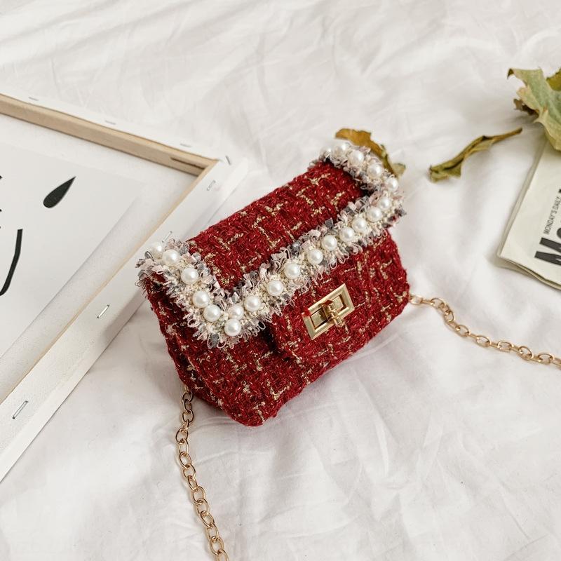 Corea del estilo 2020 de la princesa debe Tong Bao Tong Bao er con cuentas de mensajería moldeadas hechas a mano bolsa de bolsa de bolsillo de los niños de los niños