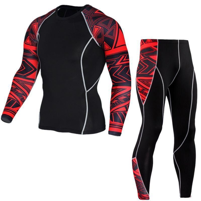 Erkekler Rashguard Muay Thai Kickboks Tişörtlü Mma + Pantolon İç Egzersiz Spor Tracksuit için Sıkıştırma Spor Suit