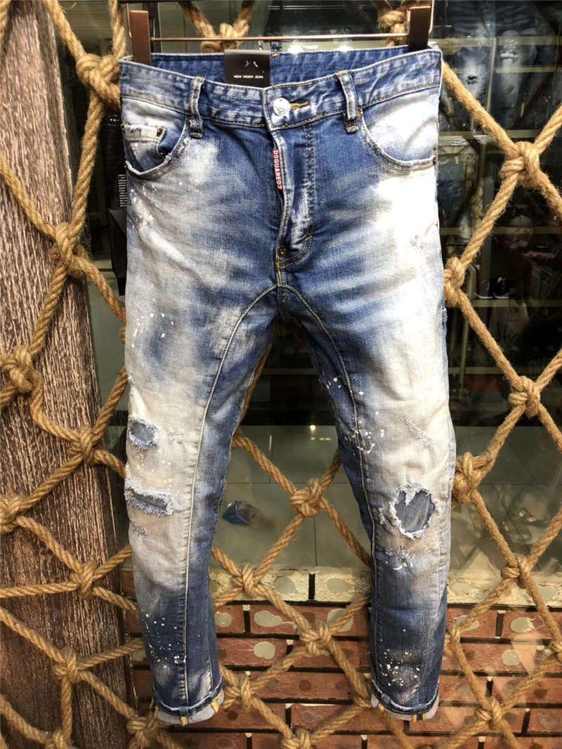 Dsquared2 dsq2 SS20 Yeni Geliş Üst Kalite Marka Tasarımcı Erkekler Denim Soğuk Guy Jeans Nakış Pantolon Moda Delikler Pantolon İtalya Boyut 44-54 A196