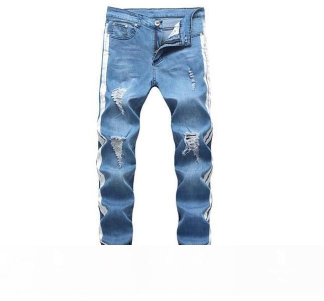 Mens Designer Jeans Street Fashion style Lavé Holes Ripped Crayon Pantalons Pantalons Hommes Pantalones Pantalons Designer pour hommes