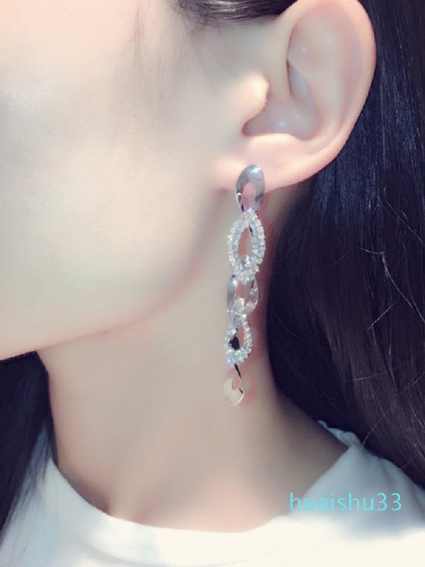 Горячие Продажа новых Ins моды роскошь дизайнер сверкающий алмаз горный хрусталь скручены геометрическое долго люстра болтаться серьги стержня для женщин девочек