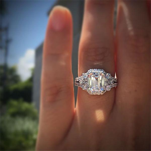 Atemberaubende Luxuxschmucksachen 925 Stearling Silber-Tropfen Wasser weiß Topaz CZ-Diamant-Edelstein-Partei-Frauen Hochzeit Brautring-Geschenk n021