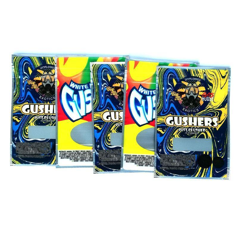 Weiß gusher Tasche exotics gushers 3,5 Gramm Mylar Beweis Taschen riechen Reißverschluss Vape Zubehör DHL-freies sperren